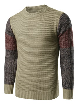 Patchwork Round Neck Mens Causal Sweater