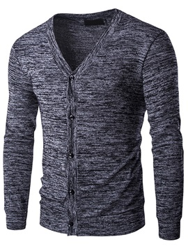 Heart Shaped Neck Single Breasted Mens Causal Sweater