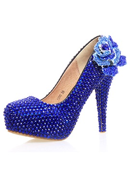Pu Appliques Rhinestone High Heel Wedding Shoes