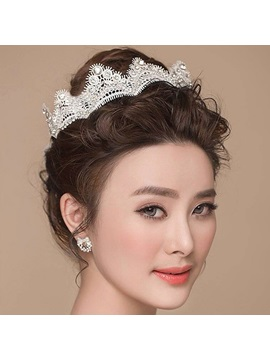 Lace Diamante Pearls Design Wedding Tiara