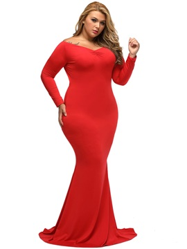 V Neck Solid Color Mermaid Maxi Dress