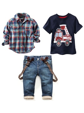 Plaid Shirtcar Print T Shirtjeans Boys 3 Pcs Outfit