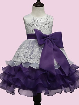 Vogue Crocheting Bow Detail Girls Dress