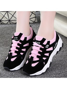 Cloth Lace Up Color Block Thread Womens Sneakers