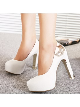 Pu Slip On Rhinestone Womens Pumps