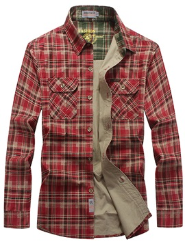 Pockets Plaid Lapel Mens Leisure Shirt
