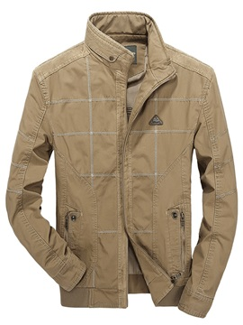 Plaid Stand Collar Mens Causal Jacket
