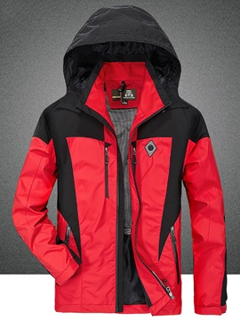 Color Block Zipper Mens Casual Hooded Jacket