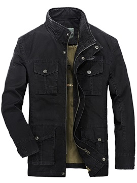 Zipper Chest Pocket Casual Mens Stand Collar Jacket