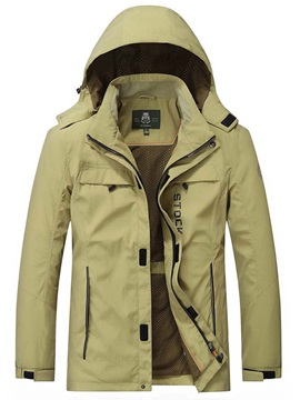 Loose Hooded Plain Mens Jacket