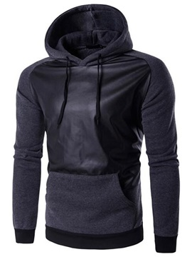 Pu Patch Solid Color Mens Causal Hoodie