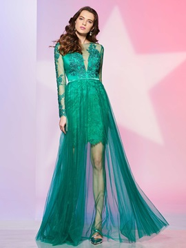 Attractive Long Sleeves A Line Scoop Appliques Button Prom Dress