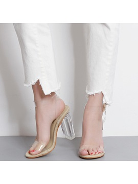 Pvc Line Style Buckle Transparent Heel Womens Sandals