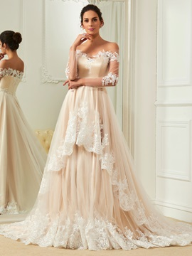 Elegant Appliques Off The Shoulder A Line Color Wedding Dress
