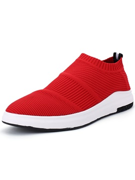 Cloth Plain Slip On Round Toe Mens Sneakers