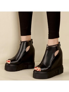 Pu Black Hollow Platform Womens Wedge Shoes