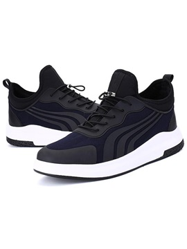 Pu Color Block Stripe Lace Up Mens Sneakers