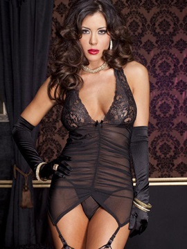 Black Halter Deep V Neck Backless Chemise