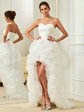 Beautiful Sweetheart Asymmetry Beach Wedding Dress