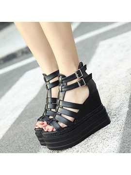 Pu Black Hollow Wedge Heel Womens Shoes