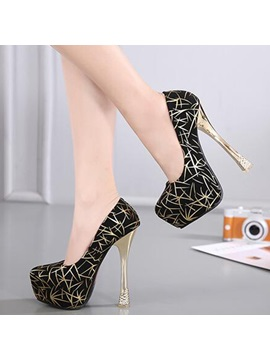 Printing Leather Slip On Platform High Heel Womens Pumps