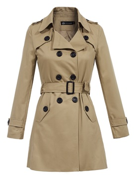 Stylish Lapel Double Breasted Plain Trench Coat