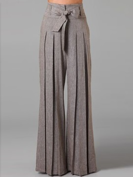 Low Waisted Wide Leg Pure Color Womens Pants