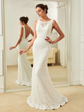 Elegant Bateau Backless Mermaid Lace Wedding Dress