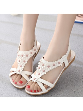 Pu Slip On 3d Plain Strappy Womens Flat Sandals