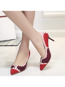 Pu Patchwork Rivet Slip On Stiletto Heel Womens Pumps