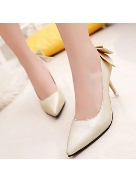 Pu Slip On Bow Multi Color Womens Pumps