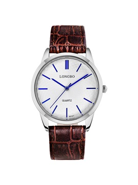 Blue Pointer Design Brown Band Mens Quartz Watch