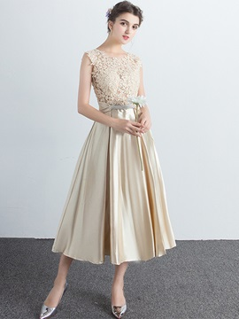 Fancy A Line Scoop Appliques Beading Bowknot Tea Length Prom Dress