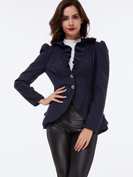 Stylish Falbala Tiered Two Buttons Blazer