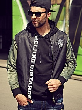 Patchwork Letter Printed Mens Casual Zip Jacket