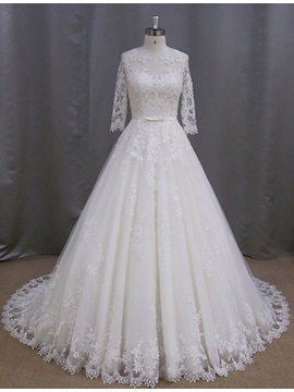 Graceful Half Sleeves Appliques Button A Line Wedding Dress