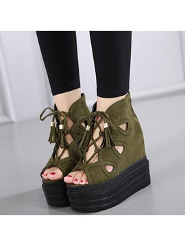 Pu Cross Strap Hollow Platform Womens Wedge Shoes