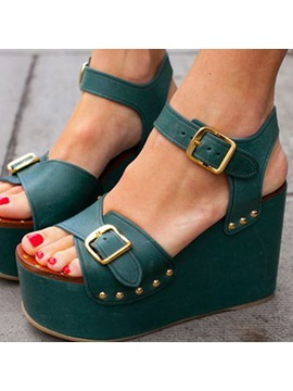 Pu High Quality Dark Green Buckles Platform Sandals