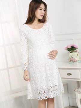 Round Neck Lace Pleated Maternity Dress