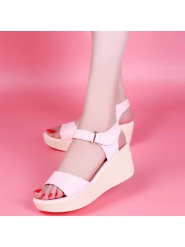 Pu Velcro Platform Wedge Heel Womens Sandals