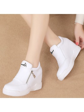 Pu Zipper Platform White And Black Womens Sneakers