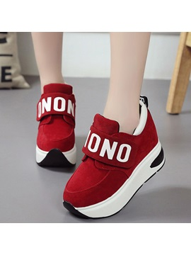 Cheap Pu Velcro Platform Hidden Heel Womens Sneakers
