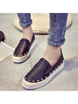 Pu Slip On Platform Rivet Womens Fashion Shoes
