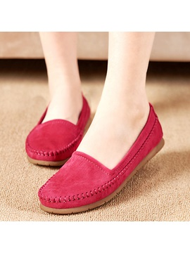 Simple Pu Slip On Round Toe Womens Flats