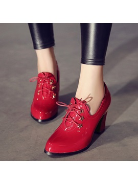 Patent Leather Lace Up Thread Womens Pumps