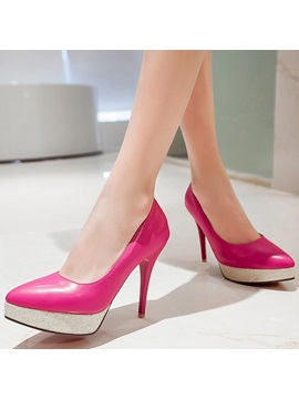 Elegant Pu Slip On Platform Stiletto Heel Womens Pumps