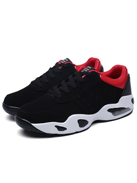 Pu Color Block Lace Up Mens Athletic Shoes