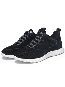 Simple Nubuck Leather Plain Lace Up Mens Sneakers