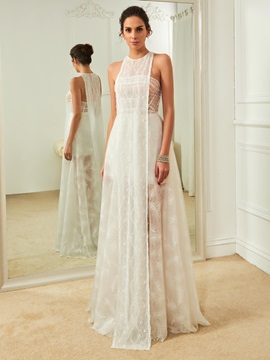 Fancy Jewel A Line Lace Beach Wedding Dress
