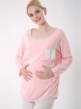 Solid Color Pocket Maternity 2 Piece Sleepwear